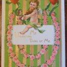 Winged Angel Playing Violin-Antique Vintage Emboss Gold Gilt Valentine Postcard