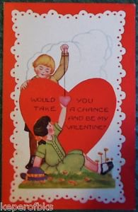 YOUNG BOY & GIRL HEARTS-ARTS & CRAFTS VINTAGE EMBOSS VALENTINE WHITNEY POSTCARD