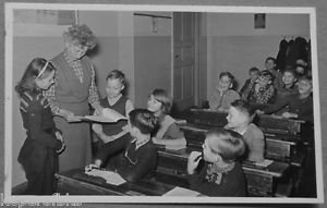 German School Class Room 14 Children Teacher - Vintage Real Photo Postcard 1940