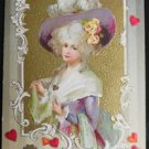 YOUNG LADY LAVENDAR HAT - ANTIQUE VINTAGE WINSCH VALENTINE'S DAY POSTCARD 1910