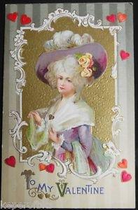 YOUNG LADY LAVENDAR HAT - ANTIQUE VINTAGE WINSCH VALENTINE'S DAY POSTCARD 1910