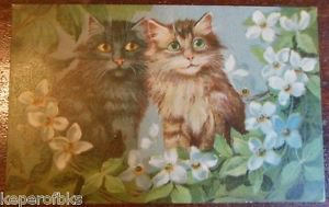 MAURICE BOULANGER Cats & Dogwood or Wild Roses Antique Vintage Postcard KOPAL