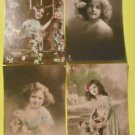 4 Antique Vintage Hand Tinted Colored FRENCH Real Photo POSTCARDS-Young Girls-4