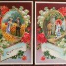 "2 Antique Victorian Chrome ""Congratulations"" Postcard-Gold Trim Victorian Couple"