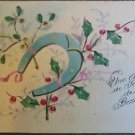 HORSESHOE HOLLY BERRIES-VINTAGE LINEN LIKE PAPER HANDMADE HAND PAINTED POSTCARD