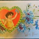YOUNG WINGED ANGEL CARNATIONS TUCKS-ANTIQUE VINTAGE EMBOSSED VALENTINE POSTCARD