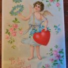 Winged Angel Holding Heart Flowers-Antique Vintage Embossed Valentine Postcard