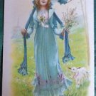 Mary Had a Little White Lamb - EASTER PAQUES - Antique Vintage FRENCH Postcard