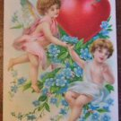 Winged Angel & Cherub Heart Flowers-Antique Vintage Embossed Valentine Postcard