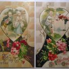 2 Unsign Winsch Antique Vintage Valentine Postcards-Colonial Couple Cupid Hearts