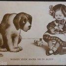 Vintage Big Dog Young Girl Small Kitty Comic Postcard - Rare Post Mark? 1910