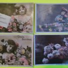 4 Antique Vintage Hand Tinted FRENCH Real Photo POSTCARDS-Young Girls Flowers-8