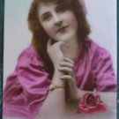 FRENCH FANTASY LADY LONG HAIR-HAND TINTED-ANTIQUE VINTAGE RPPC PHOTO POSTCARD 9
