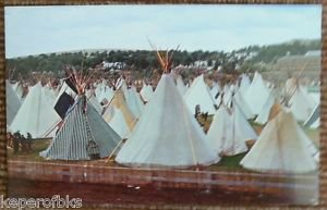 Indian Village Pendleton Round-Up Oregon-Vintage 1959's Tepees Postcard