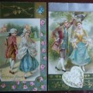 2 Unsigned Winsch Antique Vintage Gilt Valentine Postcards-Colonial Couple Cupid