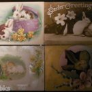 Cuddly Bunny Rabbit in Hat Box-In Egg-Antique 1909-1910 EASTER Postcard Lot of 4