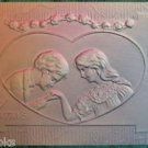 BOY KISSES GIRLS HAND HEART-ANTIQUE EMBOSSED AIRBRUSHED VALENTINE DAY POSTCARD
