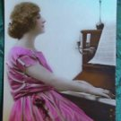 PRETTY LADY PLAYS PIANO SHEET MUSIC-HAND TINT-ANTIQUE DECO FRENCH RPPC POSTCARD