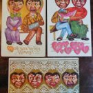Black Americana Heart Faces Gold Gilt-3 ANTIQUE EMBOSSED VALENTINE DAY Postcards