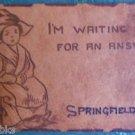 DUTCH GIRL- SPRINGFIELD, OREGON - WAITING - ANTIQUE 190O LEATHER POSTCARD