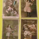 4 Antique Vintage Hand Tinted Colored FRENCH Real Photo POSTCARDS-Young Girls-5