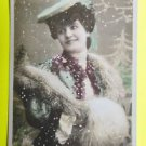 PRETTY WOMAN FEATHER MUFF-Happy New Year-HAND TINT-ANTIQUE RPPC PHOTO POSTCARD