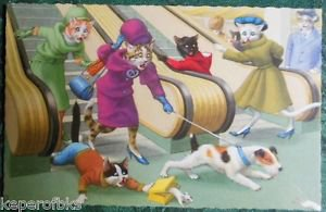 ANTHROPOMORPHIC DRESSED CAT POSTCARD-MAINZER HARTUNG-ESCALATOR DOG MOUSE #4893