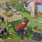 ANTHROPOMORPHIC DRESSED CATS POSTCARD-MAINZER HARTUNG-PICNIC BLU CAR TRUNK 4890