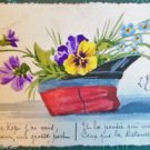 WWI French Hat Pansy's Inside-1915 VINTAGE ANTIQUE HANDMADE HANDPAINTED POSTCARD