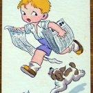 DOG CHASING PAPERBOY-A deux, c'est moins fatigant-VINTAGE ARTIST H. DID POSTCARD