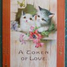 Greetings Postcard-A Token of Love - Cats Kittens Butterfly Gold Hearts Clover