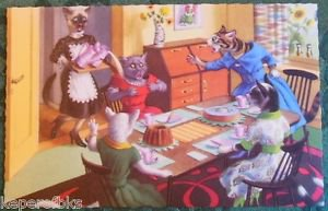 ANTHROPORMORPHIC DRESSED CATS POSTCARD-MAINZER HARTUNG-SPILT MILK PARTY Belgium