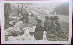 SUNDAY PICNIC in PARK-LADIES CHILDREN-CARS-ANTIQUE VINTAGE RPPC PHOTO POSTCARD