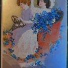 2 Young Ladies COUPLE Car Flowers Silver Gilt-Antique VTG VALENTINE Postcard