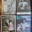 Young Girls Easter Themes-4 Antique Hand Tint Color FRENCH Real Photo POSTCARD