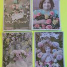 4 Antique Vintage Hand Tinted FRENCH Real Photo POSTCARDS-Young Girls Flowers-6