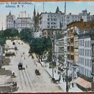 STATE ST at BROADWAY TROLLEY CAR-ALBANY, NEW YORK-VINTAGE ANTIQUE 1915 POSTCARD