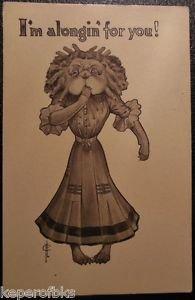 Vintage FLC Fred Cavally Anthropomorphic Dressed Dog Long Dress & Wig Postcard