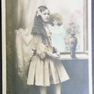 Young Girl Long Hair with Doll-Antique FRENCH Real Photo POSTCARD Hand Tint 1908