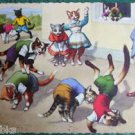 ANTHROPOMORPHIC DRESS CAT POSTCARD-MAINZER HARTUNG-SPORTS GAME LEAP FROG #4878