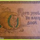 Tabby Kitty Cat in Tree Stump-Be Back Soon-ANTIQUE VINTAGE 1907 LEATHER POSTCARD