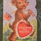 Friendly Bear for Teacher - Rust Craft Die Cut Vintage Valentine Greeting Card