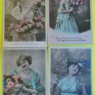 Lot of 4 Vintage FRENCH 1906 RPPC Real Photo Postcards Young Lady Gown Flowers-a