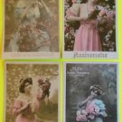 Lot of 4 Vintage FRENCH 1908 RPPC Real Photo Postcards Sexy Lady Gown Flowers-b
