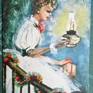 YOUNG LADY LANTERN GIFT by Artist GEORGE STEIB-VINTAGE CHRISTMAS GREETING CARD