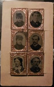 Lot 6 Antique Vintage 1800 Mini Tintype Photo Brass Frames Colored 1 1/16 x 3/4""