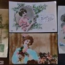YOUNG LADY'S -HAND TINTED-Lot of 4 ANTIQUE FRENCH RPPC REAL PHOTO POSTCARDS 2