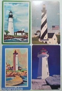 Light Houses Water & Rocks - 4 Different Vintage 1980's Swap Playing Cards