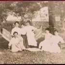LADIES GIRL FRIENDS PICNIC HAMMOCK-VINTAGE SEPIA RPPC PHOTO POSTCARD EARLY 1900