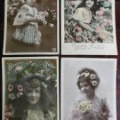 YOUNG GIRLS - HAND TINTED - Lot of 4 ANTIQUE FRENCH RPPC REAL PHOTO POSTCARDS 1